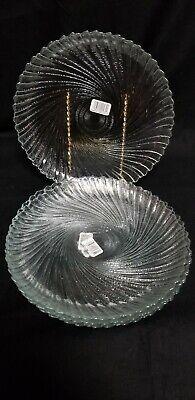 Lot of 4 Arcoroc SEABREEZE USA Clear Glass Dinner Plates Swirl Pattern - Clear Glass Plates