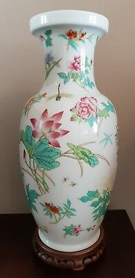 Chinese Porcelain Vase 18 x 10 Butterflies flowers dragonfly With wood stand