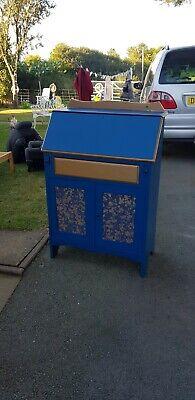 Lovely Vintage Bureau Painted Blue An Gold