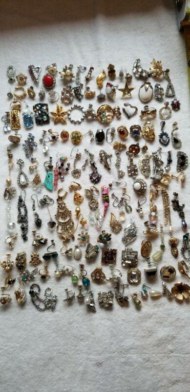 Vintage Single Earrings Huge Lot of 120 Rhinestone Junk Craft Harvest Lot #1