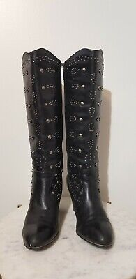 BLACK LEATHER DIXIE BOOTS STUDDED SIZE 9 COWBOY COWGIRL REBA MCENTIRE PUNK GOTH  Gothic Leather Boots