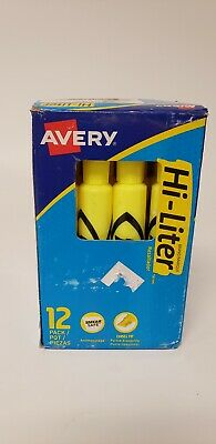 Avery® Hi-Liter® Desk-Style Highlighters, Fluorescent Yellow, Box Of 12 Avery Hi Liter Fluorescent