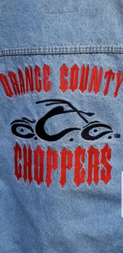ORANGE COUNTY CHOPPERS XXL Heavy Denim Jacket Emroidered Washed unworn Bioworld