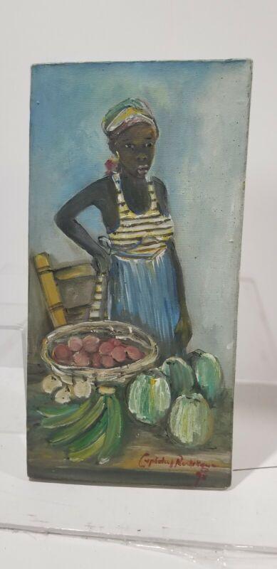 vtg Haitian painting Woman folk market Rodrigue Cupidon art  African 8 x 16