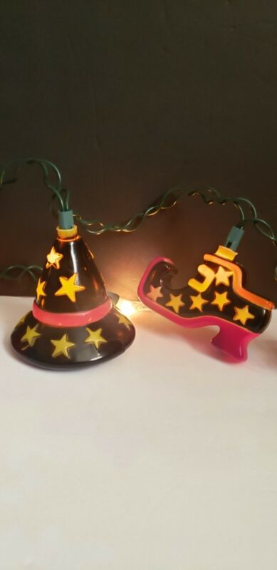 Vintage Blow Mold Halloween String Light Covers Witch hats and Shoes