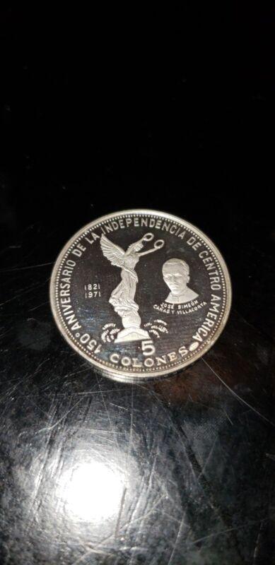 1971 EL SALVADOR 5 COLONES PROOF SILVER COIN collectible old antique