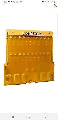 Master Lock Empty Lockout Station- 28pc Holding Capacity- Yellow- New- 1484b