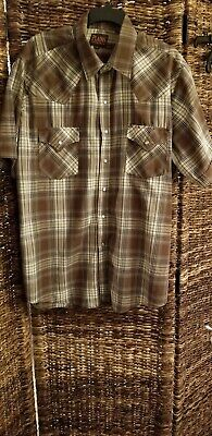 Plains Western Wear Men's Size XL SS Shirt with  Pearl Snap Fasteners brown