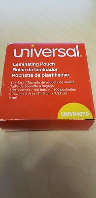 Lot Of 400 Universal Laminating Pouch Film 4 Boxes 2-516 X 4-18 Unv84670