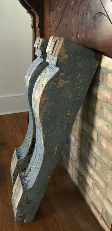 WOW! PAIR Huge Vintage Antique Corbels 34x5x7 Architectural Salvage Mantel Shelf