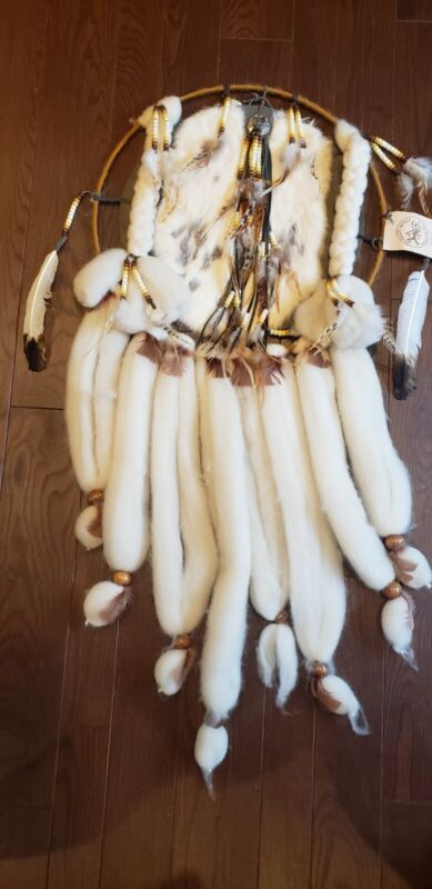 Dream Catcher Rabbit Fur Feathers Indian Mandella Running Horse Trading Co UT