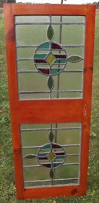 Pair of Victorian Leaded Stained Glass Panels Windows, Set Into a Modern Frame