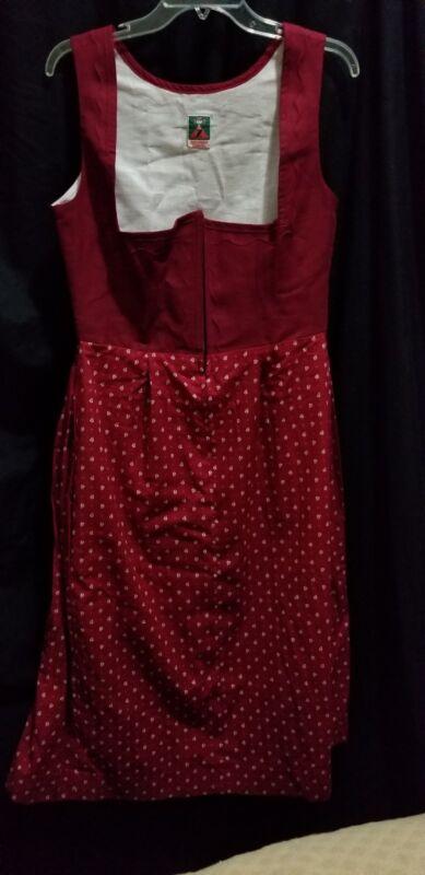 Authhentic Zechner Red / Burgandy Bavarian Dirndl Dress Oktoberfest 39 B 30 W