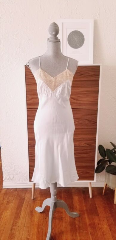 Vintage 40s Nightgown 30s Slip Satin Lace Blue Embroidery Dress Small Medium S M