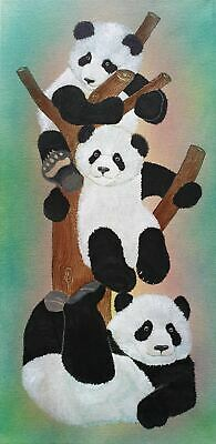 Panda Tree mixed media long canvas