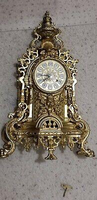 Vintage Italian Brass Imperial Mantle Clock Nice.