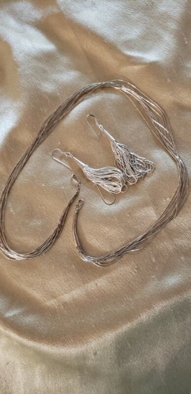 """Sterling Liquid Silver 10 Strand 20"""" Necklace & Earrings 20.89 grams total"""