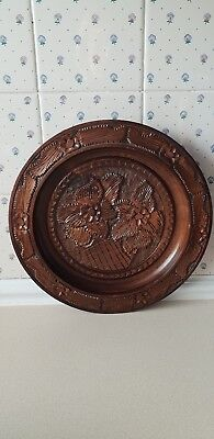 STUNNING LARGE TREEN WOODEN BOWL, CHARGER, PLATTER. CARVED FLOWER PATTERN