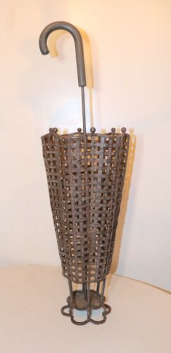 elaborate woven forged wrought iron metal wood umbrella shaped cane stand holder