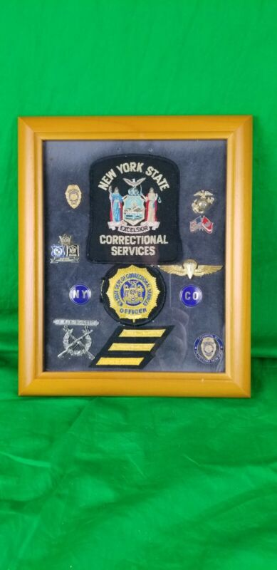 Nice Vintage New York Correctional Services Patches and Pins in a Frame