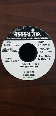 1 Lbs Indium Brand Solder .020 Sn63 Pb37  Water Wash