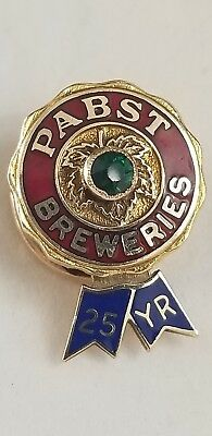 Vintage Pabst Breweries Blue Ribbon Beer 25 Yr Service 14k /  Emerald Lapel Pin