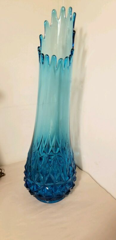 Vintage Mid Century L.E. Smith Peacock Blue Swung Slung Slag Glass Vase #5160
