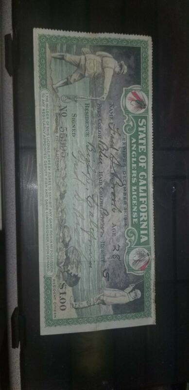 State of  California anglers license December 31, 1914 lithograph very rare!