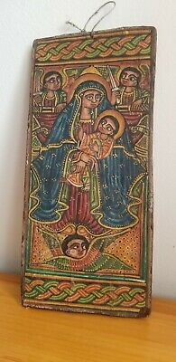 Antique Ethiopian Orthodox Coptic Christian Hand crafted/Painted Wood Icon