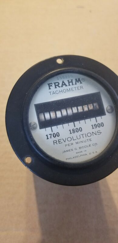 Vintage FRAHM Revolutions Tachometer Round 155210 James J. Biddle co.