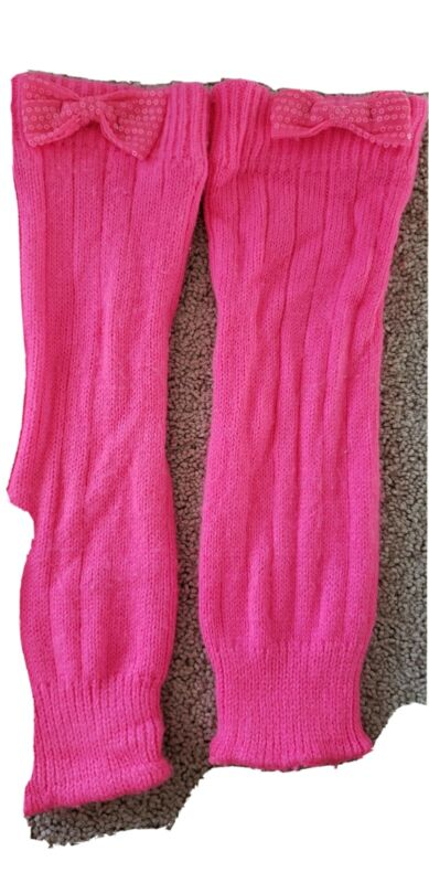 """Girls bright pink Leg Warmers Knit bow sequins 14"""""""
