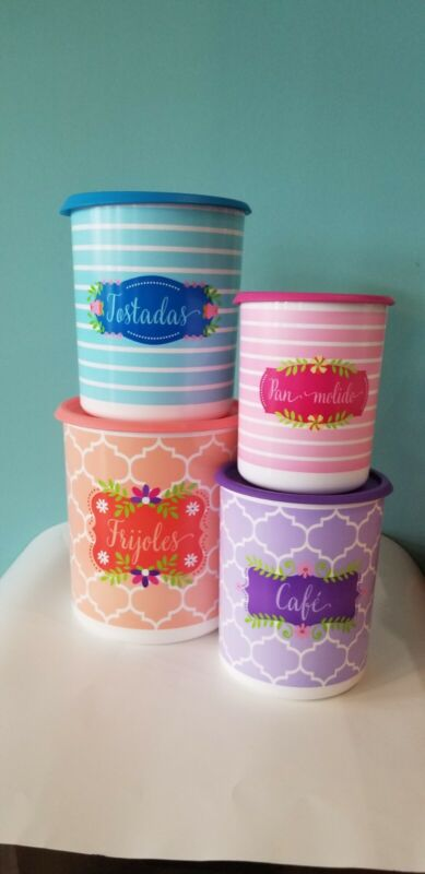 Tupperware One Touch Canister Set. Spanish.