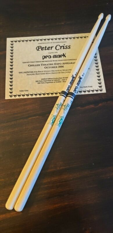 Very RARE Peter Criss Chiller Theatre Drumsticks! Limited Edition!