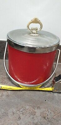 Red and silver Vintage 60s Ice Bucket For Gin And Tonics! Leather look