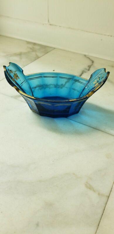 Antique Bohemian Moser Art glass centerpiece Bowl