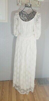 Vtg. Lace Beach Festival Wedding Dress Bridal Gown Boho Puff Sleeves