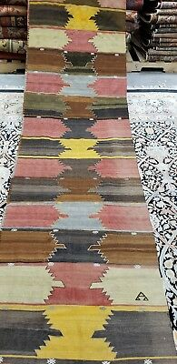 """Antique 1930-1940's Vegy Dye Wool Tribal Kilim Runner 2'8""""×12'10""""  for sale  Shipping to South Africa"""
