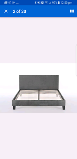 Queen Grey Fabric bed frame