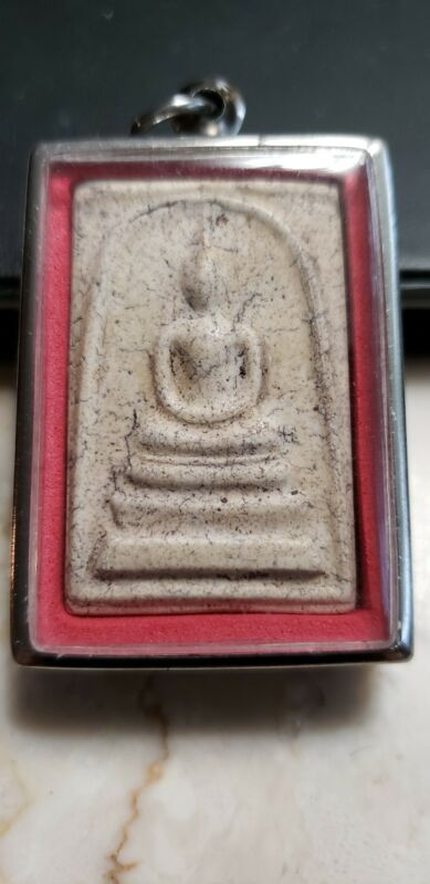 THAILAND BUDDHIST TEMPLE AMULET IN CASE