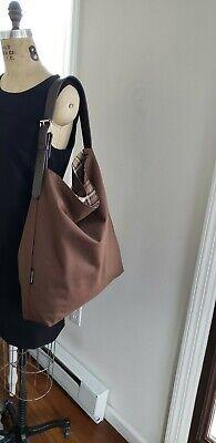 Brown hobo tote handbag cotton canvas bucket tote Burberry cloth bag hippie