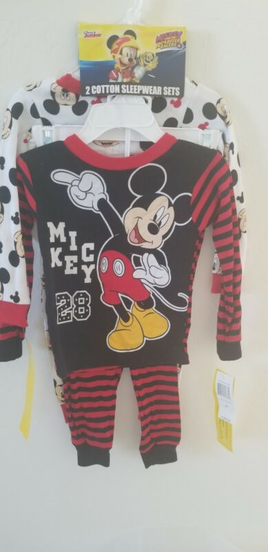 Disney Mickey Mouse Pajamas TWO 2-piece Sets Toddler Boys kids Size 2T New