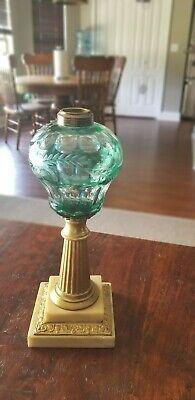 1860-70's Green Boston & Sandwich Cut glass Kerosene Oil Lamp No. 2 collar