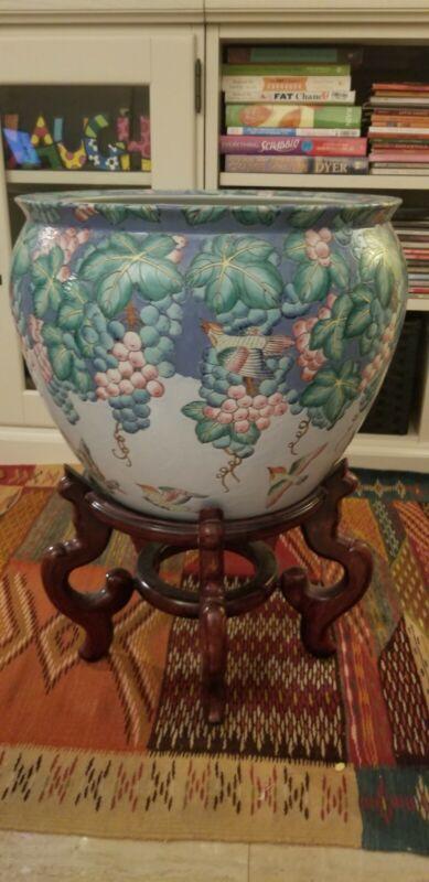 Large Vintage Chinese Jardiniere Koi Fish Bowl/Jardiniere/Planter w Stand