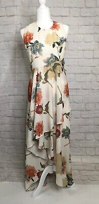Hope & Ivy Dress Size 12 High Low White Florals Sleeveless Flowy Blue Red Tie