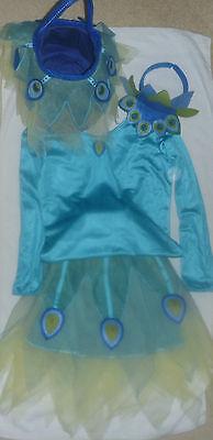 7-8 POTTERY BARN KIDS PEACOCK TUTU HALLOWEEN COSTUME/TREAT BAG 4 PIECE SET EUC  (Peacock Tutu Costume)