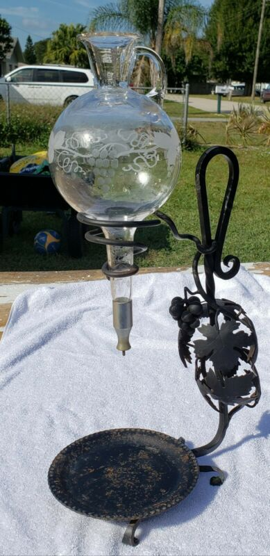 Wine Aerator Decanter Vintage  Etched Glass Black Wrought Grape Iron Stand