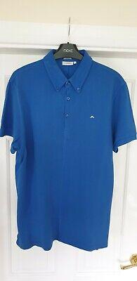 J.Lindeberg Mens Golf Polo Shirt - Slim Fit - Blue - Size Large