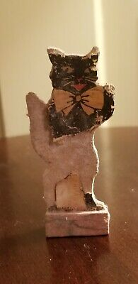 ANTIQUE GERMAN GERMANY CAT CARDBOARD PAPER LITHO GAME PIECE