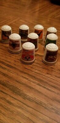 Vintage Advertising Sewing Thimbles, Lot Of 9, 1980's