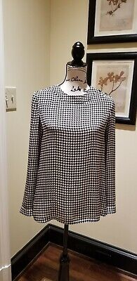 Ladies Ralph Lauren houndstooth print, long sleeve silk blouse, size 2 Houndstooth Print Blouse